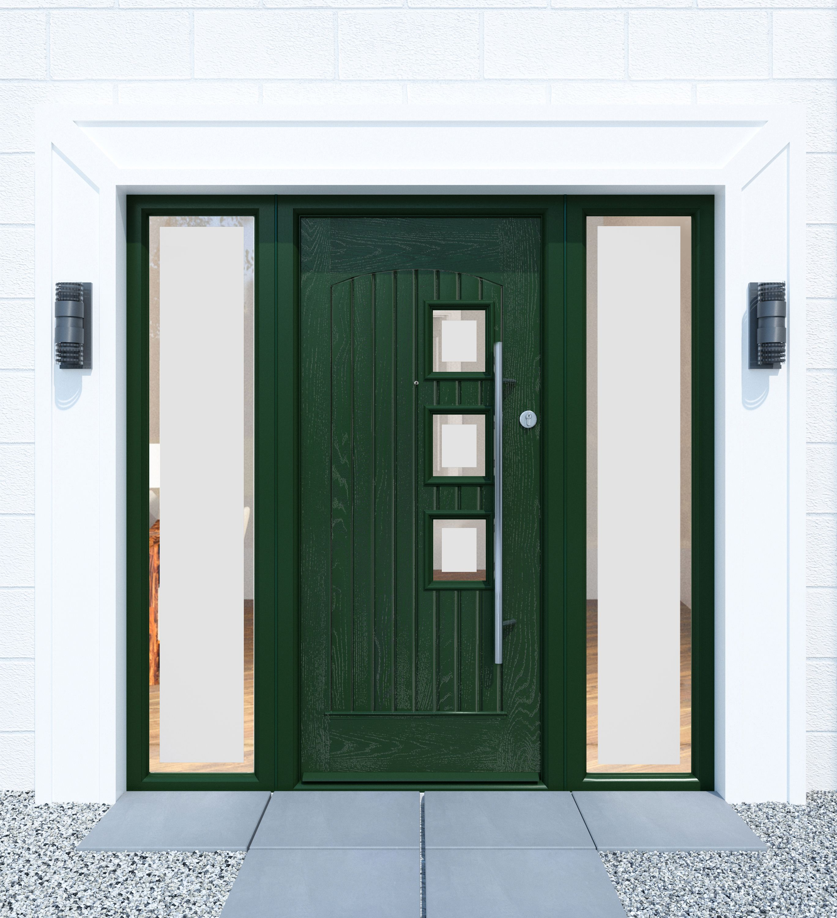 Cashel Design Palladio Door in Green with Stainless Steel Pull  Bar.