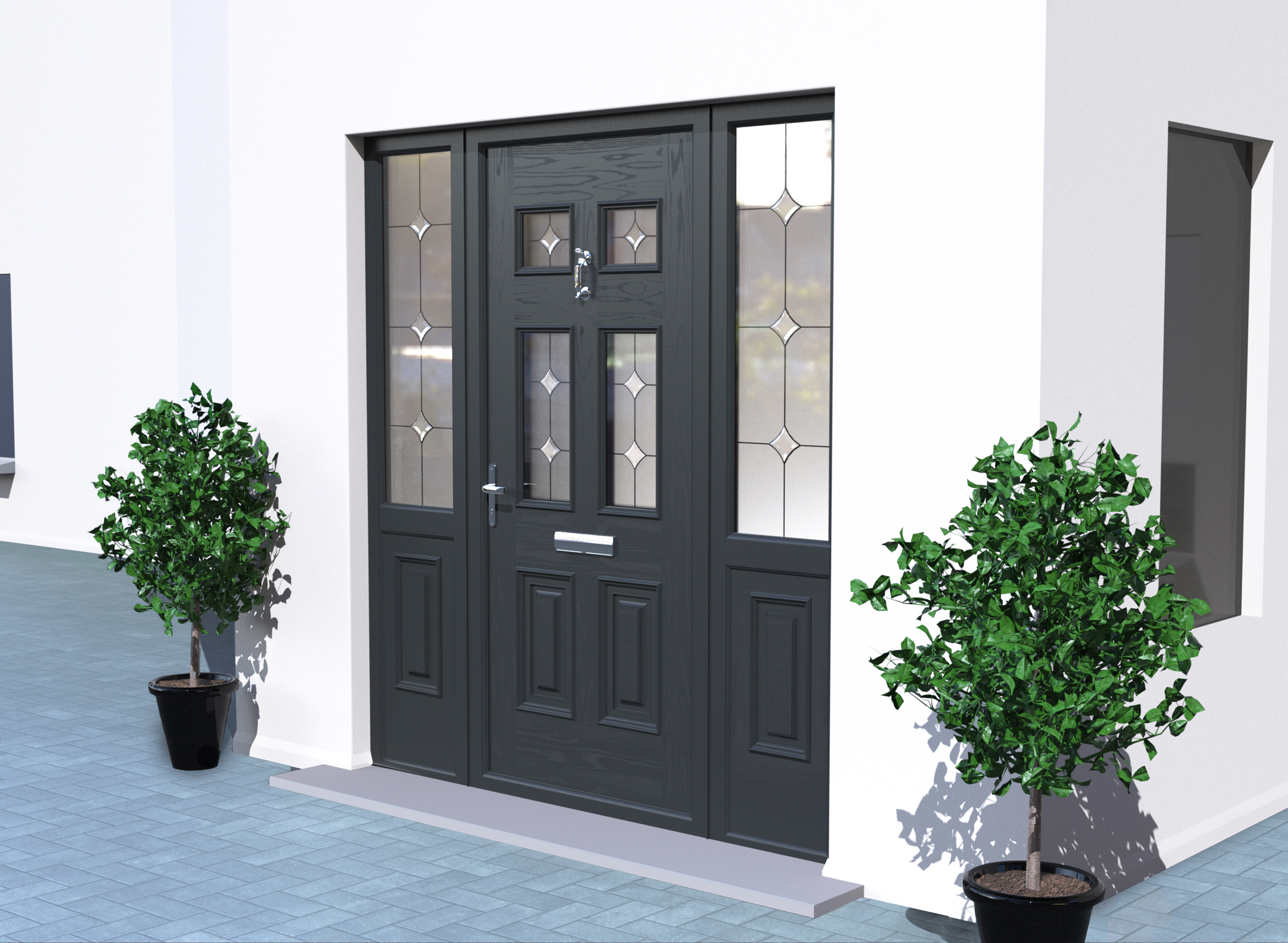 Georgian Anthracite Grey Palladio Composite Door