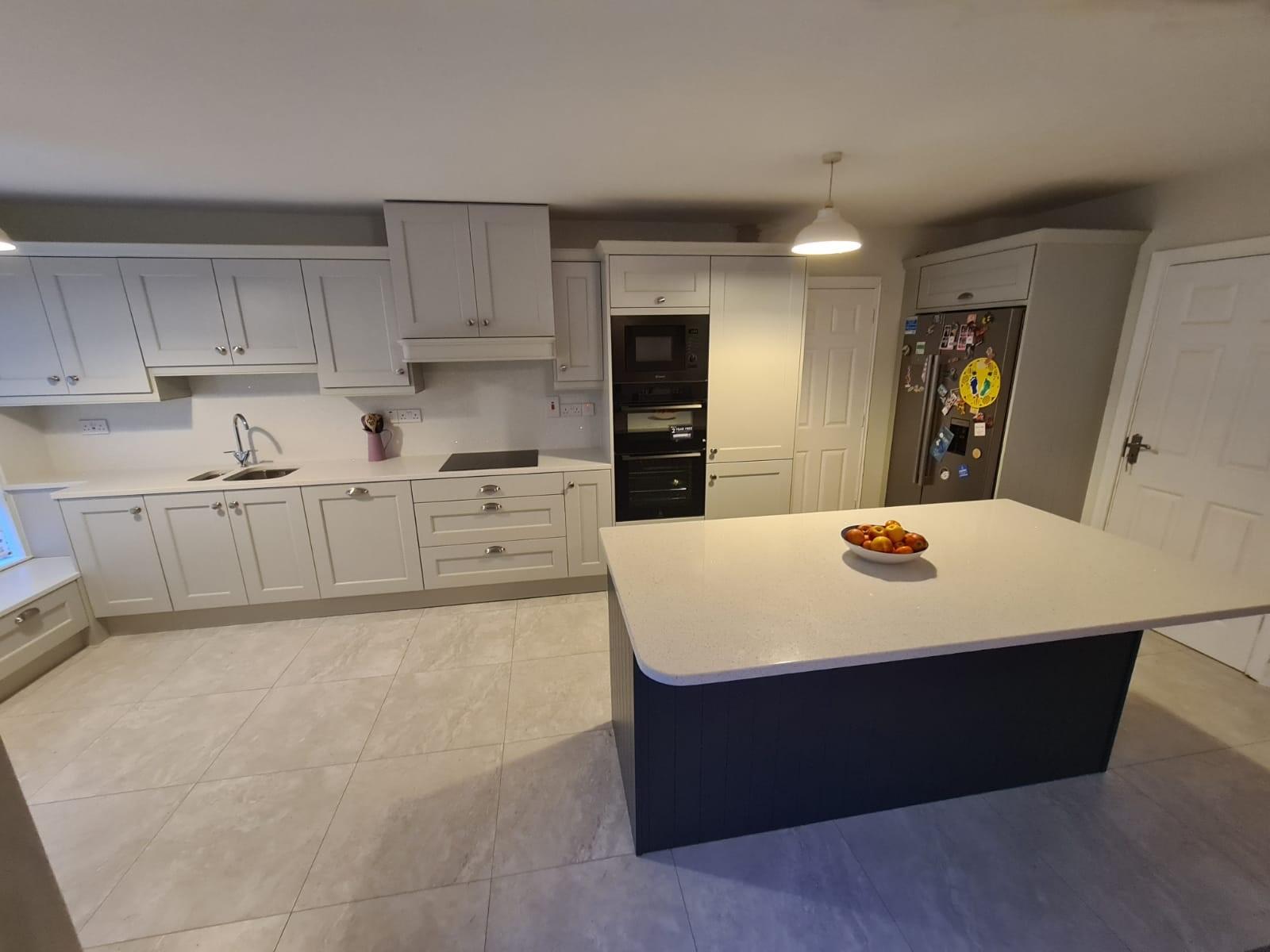 Wakefield Shaker Kitchen in Light Grey, Marine Island & Quartz Worktop
