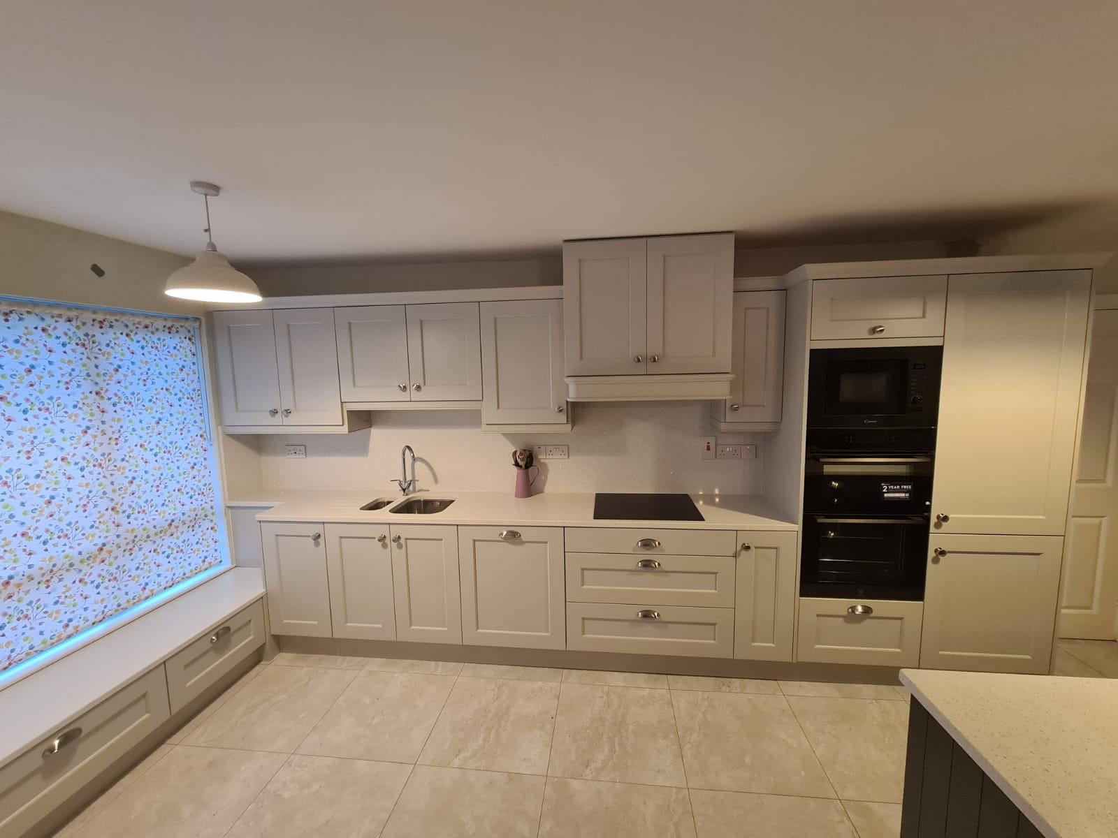 Wakefield Shaker Kitchen in Light Grey with Marine Island & Quartz Worktops