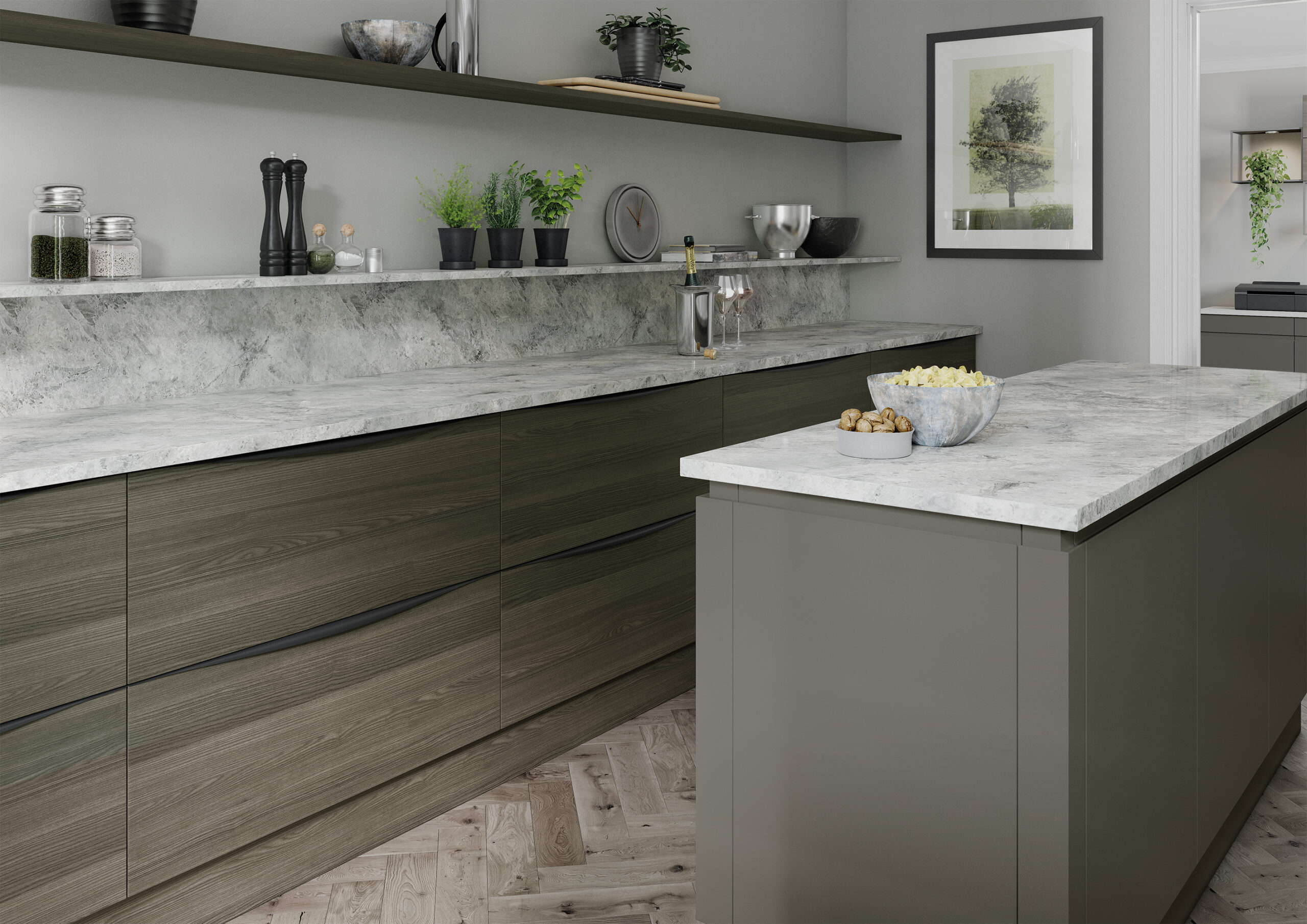 Strada Matte painted Lava and Tavola stained Carbon Oak_Cameo 2_RGB